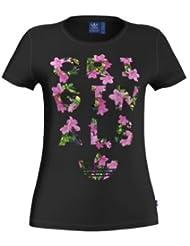 adidas Trefoil Tee - Camiseta para mujer, color negro, talla 32