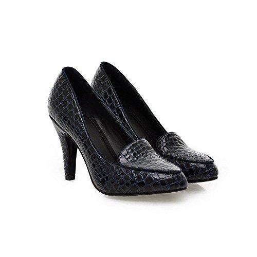 VogueZone009 Femme Couleur Unie Pu Cuir à Talon Haut Pointu Tire Chaussures Légeres Bleu