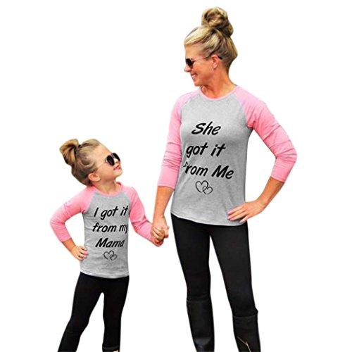 Xmansky Familie ausgestattet Mama und Tochter Brief T-Shirt Freizeit Tops (XL, rosa)