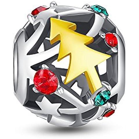 Glamulet Art Women's 925 Sterling Silver Sparkly Christmas Tree Charm Fits Pandora Bracelet by Glamulet