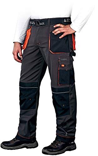 Leber&Hollman Arbeitshose für Herren - Sicherheitshose für Männer - mit Taschen für Kniepolster - Bundhose - Berufsbekleidung - Schwarz / Orange - Größe 52