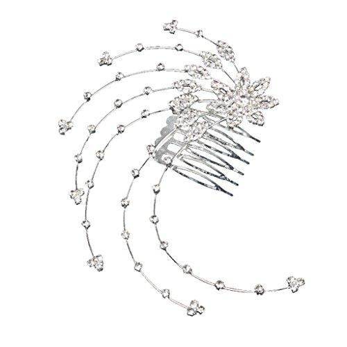 Peigne à Cheveux Décoratif en Strass Forme de Fleur Bijoux de Mariage