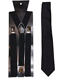 Plain Tie & Adjustable Braces - neon (Black)