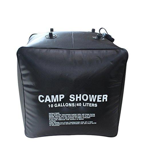 Holzsammlung - Doccia solare da campeggio, colore nero, 40 litri