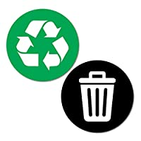 Green and Black Recycle Trash Rubbish Bin Stickers Decal