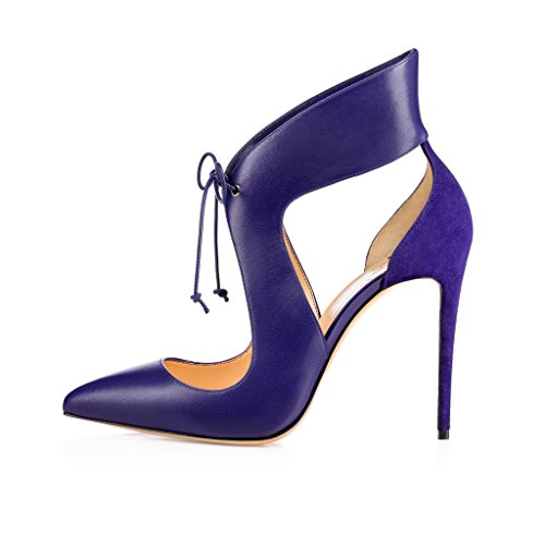 promo code 07097 cbe35 EDEFS Damen High Heels Pumps Riemchen Stilettos Spitz Pfennigsabsätzen  Schnürsenkel Schuhe Blau