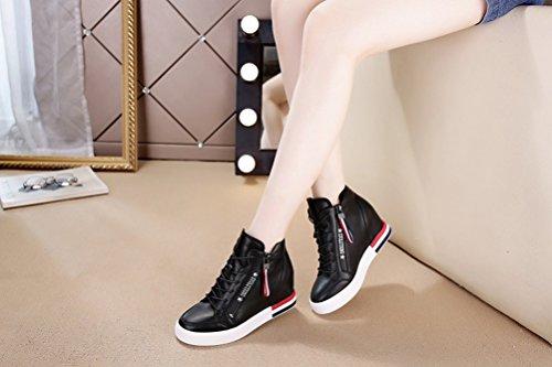 Bequeme Damen Sneaker Keilabsatz High-Top Hidden Wedges Schuhe Schwarz