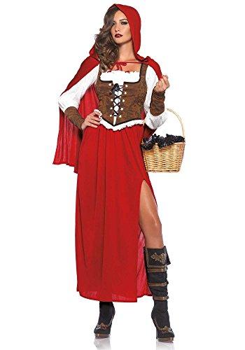 Rotkäppchen lang Damen-Kostüm von Leg Avenue - Red Riding Hood, Größe:L (Red Hood Cape Lange Riding)