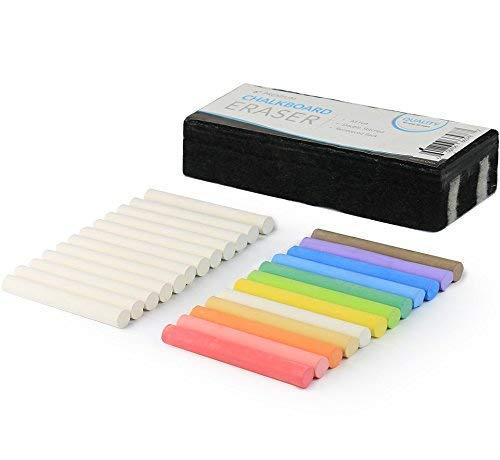 Kedudes ungiftige Kreide - 12 Stück weisse und 12 Stück bunte Kreiden in einem Paket - staubfrei und abwaschbar - Plus Premium Tafel Radiergummi