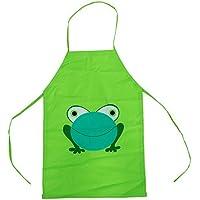 SODIAL(R) Impermeable ninos delantal de dibujos animados de la rana Impreso Cocina Pintura Nueva del nino lindo - Verde