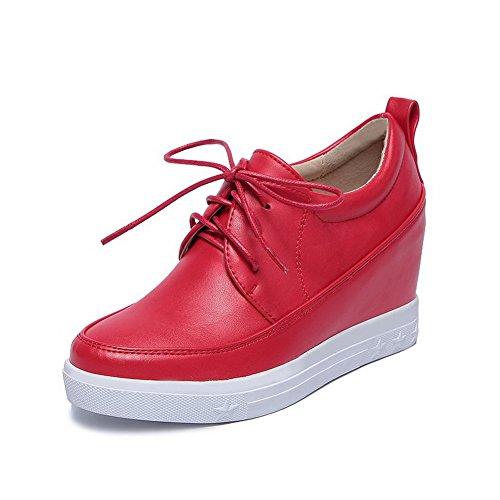 AllhqFashion Femme Matière Souple Lacet Rond à Talon Correct Couleur Unie Chaussures Légeres Rouge
