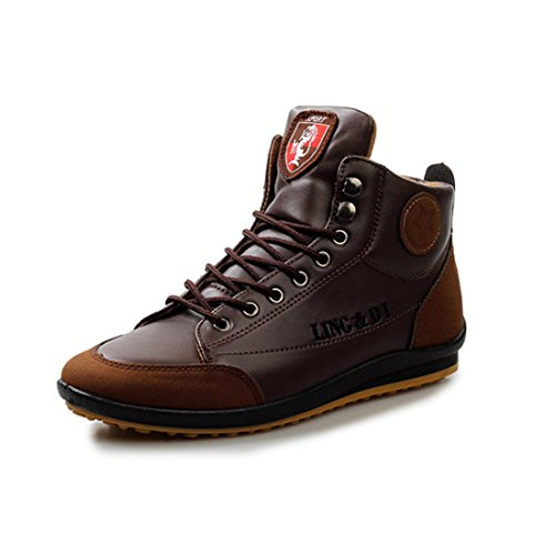 Men's Fashion Leather Hombre Outdoor Casual Shoes Dark Brown