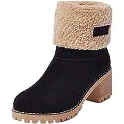 31920284b Botas Mujer Invierno Tacon Forrado Calentar Botas Altas Botines Moda Casual  Outdoor Zapatos de Nieve Snow