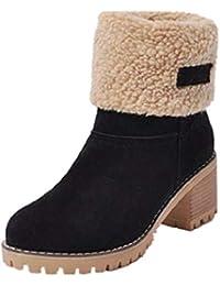 bedef3f02f78f NEOKER Femme Bottes de Neige Fourrure Chaud Mode Courts avec Doublure  Bottines Haut Talon Hiver Chaussures