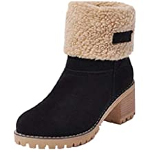 19c4a24be0955 Botas Mujer Invierno Tacon Forrado Calentar Botas Altas Botines Moda Casual  Outdoor Zapatos de Nieve Snow