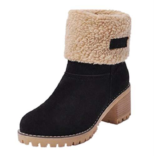 Botas Mujer Invierno Tacon Forrado Calentar Botas Altas Botines Moda Casual Outdoor Zapatos de Nieve Snow Boots 6 cm Negro 36