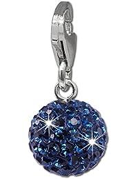 SilberDream Charm / Dijes con Circonita - Bola / jean azul - Cierre de Mosquetón - 925/1000 Plata de ley GSC220B