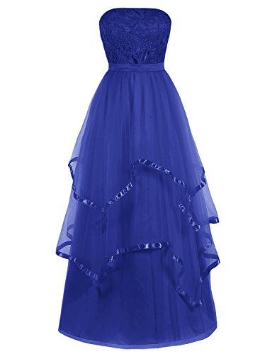 Bbonlinedress Robe de cérémonie asymétrique sans bretelles longueur ras du sol Bleu Saphir