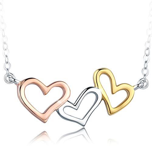Collana donna,love you forever collana in 925 argento sterling cuore collana ciondolo,three a forma di cuore pendente collana per regalo di san valentino festa della mamma
