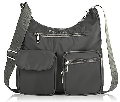 Suvelle Carryall RFID Travel Crossbody Bag, Handbag, Purse, Shoulder Bag, BA10 Grey