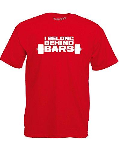 Brand88 - Brand88 - I Belong Behind Bars, Mann Gedruckt T-Shirt Rote/Weiß