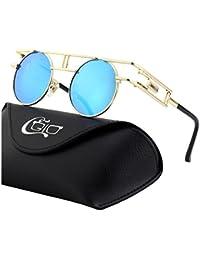 CGID E72 Polarizzate Occhiali da Sole da Uomo Retro Stile Steampunk Rotondi in Metallo