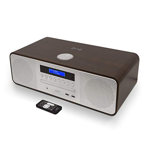 Hi-Fi Mini Stereo System CD Player mit DAB/FM Radio (Bluetooth, MP3-Wiedergabe), kabelloses Aufladen, USB-Ladegerät, Fernbedienung (Cd-player Ladegerät Mit)