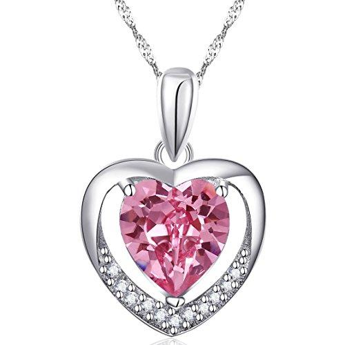 Latigerf-Damen-fr-immer-Liebe-Herz-Anhnger-Halskette-mit-Kette-Rhodium-Plated-925-Sterling-Silber-Helles-Rosa-Kristall