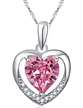 Latigerf Damen für immer Liebe Herz Anhänger Halskette mit Kette Rhodium Plated 925 Sterling Silber Helles Rosa...