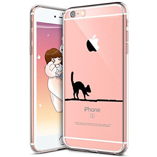 Hülle für iPhone 6 6S,iPhone 6 6S Silikon Schutzhülle,KunyFond [Liquid Crystal] Mandala Malerei Muster TPU Silikon Hülle Transparent Kristallklar Schutzhülle [Ultra Dünn] Klar Weiche Silikon Crystal K Katze#2