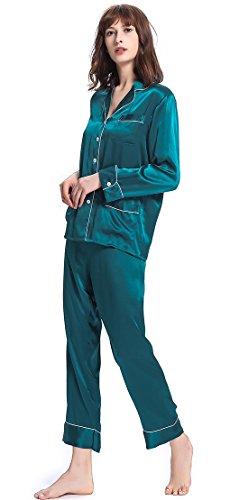 LILYSILK Pyjama en Soie Femme 100% Pure Soie 22 Momme Liseré Contrastant Bleu Royal
