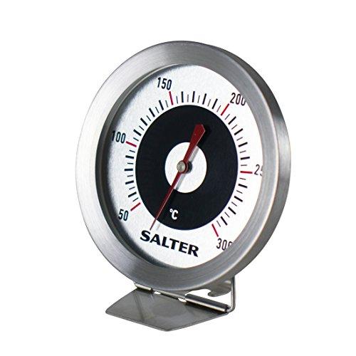 SALTER analoges Ofenthermometer, Küchenthermometer, Edelstahl, Finden Sie die perfekte Gar- und Backtemperatur, Gut lesbare Anzeige, 30-300°C, Bimetall Sensor, Einstellbarer Fuß, Rostfreier Stahl
