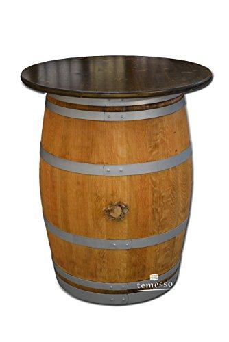 Dekofass, Stehtisch aus echtem Weinfass, Gartentisch mit Tischplatte D80 cm - Fass geschliffen und geölt mit silbernen Ringen (Tischplatte nussbaumfarben lasiert)