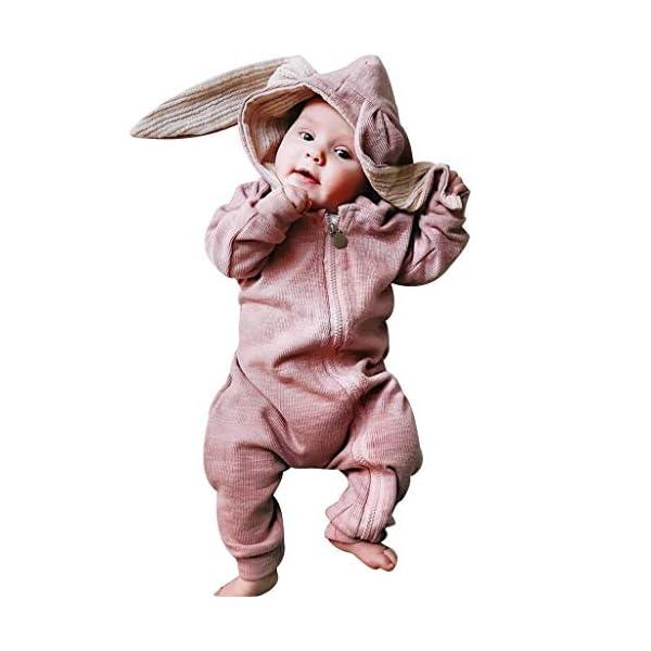 Mameluco Bebe Niño Mono Bebe Invierno Encapuchado Color Solido Oreja de Conejo Ropa Bebe Niña Recien Nacido 1