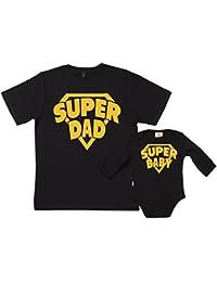 SR - Gift Boxed Dad & Baby Gift Set - SuperDad & SuperBaby Organic Matching Father T-Shirt & Babygrow