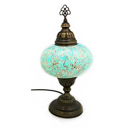Mosaik Lampe Stehlampe Beistelllampe Tischleuchte aus Glas türkis dekoration Gall&Zick Handarbeit Orientalisch