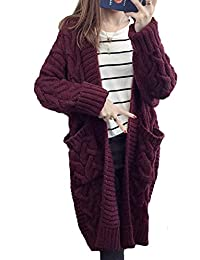 Minetom Cardigan Femme Automne Hiver Manches Longues Torsadé Tricot  Chandail Blouson Casual Deux Poches Tops Veste e6a2f7c6908
