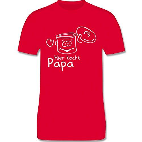 Küche - Hier kocht Papa - Herren Premium T-Shirt Rot