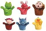 #7: Skylofts 20cm Rabbit, Frog, Cow, Monkey, Duck & Elephant Animal Hand Puppets for Boys & Girls, Multi Color (Pack of 6 Random Designs)