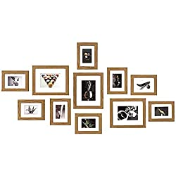 Muzilife Lot de 11 Cadres Photo Collection/Multi Cadre Photo Mural/Collage de Photos 8 pcs 13x18 cm + 3 pcs 20x25 cm (Chêne)
