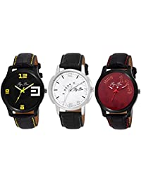 Pappi Boss Set Of 3 Exclusive Analog Combo Deal Casual Wrist Watches For Men, Boys
