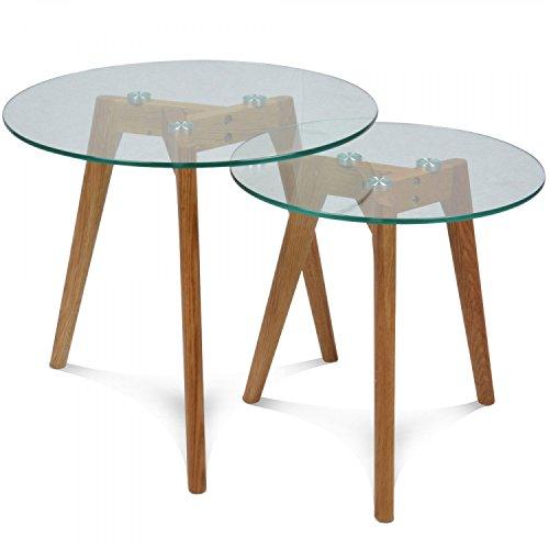 Set de 2 tables basses style scandinave, plateau en verre trempé et pieds en bois d'hévéa massif