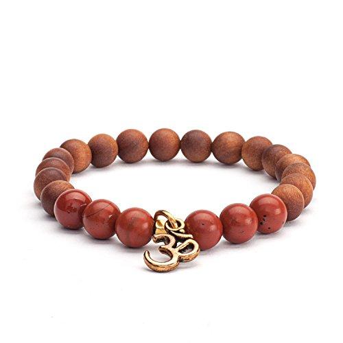 Mala Armband, roter Jaspis & Holz-Perlen mit Sandelholz-Duft, mit OM-Anhänger, Gr. M, nicht nur für Yoga-Fans
