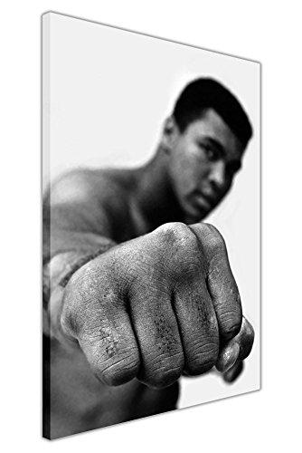 """Kunstdruck auf Leinwand, Motiv: Muhammad Ali, mit Zitat, Schwarz-Weiß, canvas holz, grau, 07- 30"""" X 20"""" (76CM X 50CM)"""