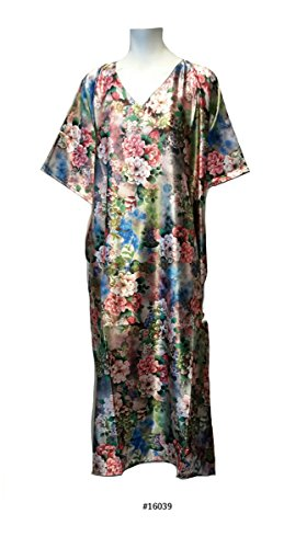 Ladies multicolour Floral Print Polyester Woven Silky Satin Long Kaftan. One Size Fit UK 10-32