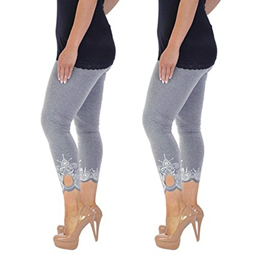 WOZOW Damen Leggings Gamaschen Solid Basic Lace Cuff Trousers High Waist Stretch Elastisch Dünn Skinny Bequem Lang Long Sport Hose Yoga Stoffhose Übergröße (3XL,Grau