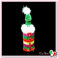 Cubierta Papá Noel de colores para botellas de vino para Navivad - Tamaño: 28 cm