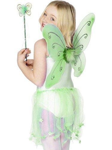 Mädchen Rosa Lila Grün Schmetterling Fee Pixie Prinzessin Wings & Zauberstab-satz Halloween Kostüm Kleid Outfit - Grün, Einheitsgröße, One (Grüne Kleid Fee)