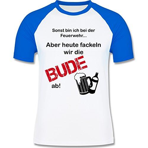 Shirtracer JGA Junggesellenabschied - Heute Fackeln Wir Die Bude ab! - Herren Baseball Shirt Weiß/Royalblau