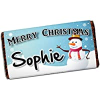 Personalised Merry Christmas Snowman 114g Galaxy Milk Chocolate Bar ~ Xmas Eve Kids Girls Boys Mum Dad Stocking Fillers Gift Ideas Present N50